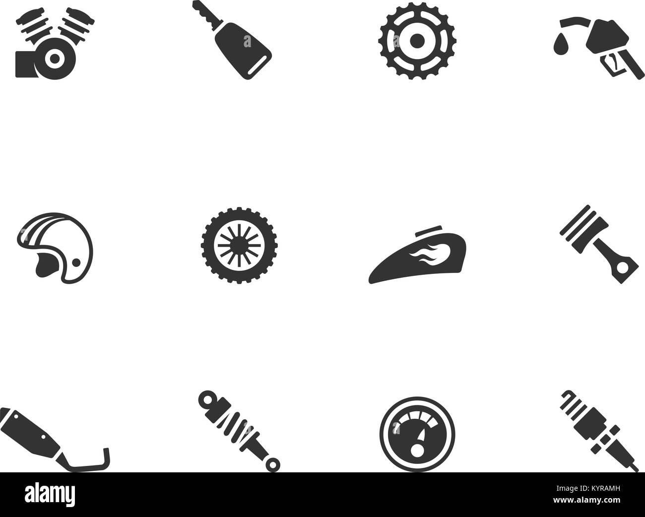 Motorcycle Parts Icons In Single Color Vector Illustration Stock
