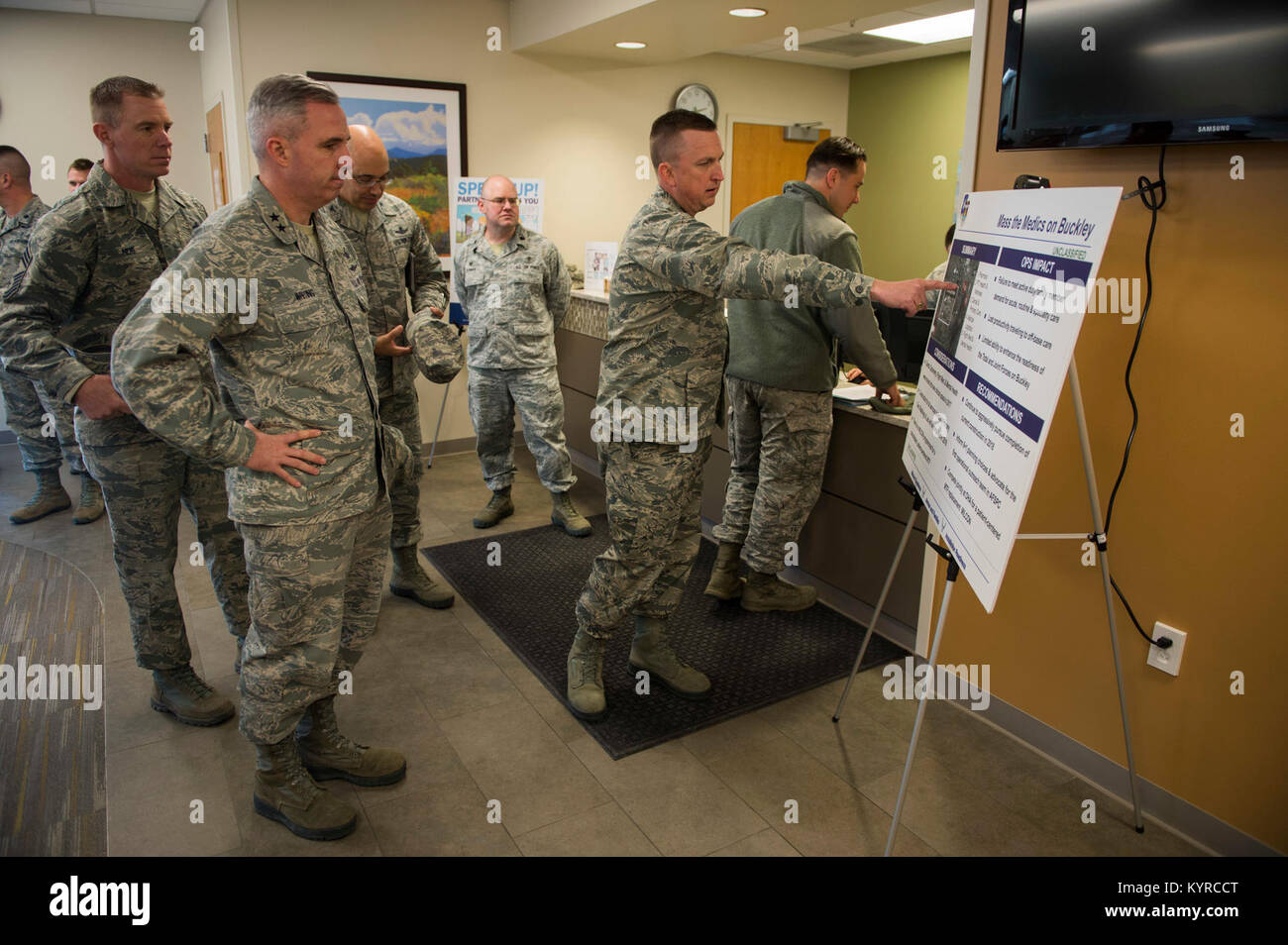 Maj Gen Stephen Whiting 14th Air Force Commander Listens As Col Stock Photo Alamy