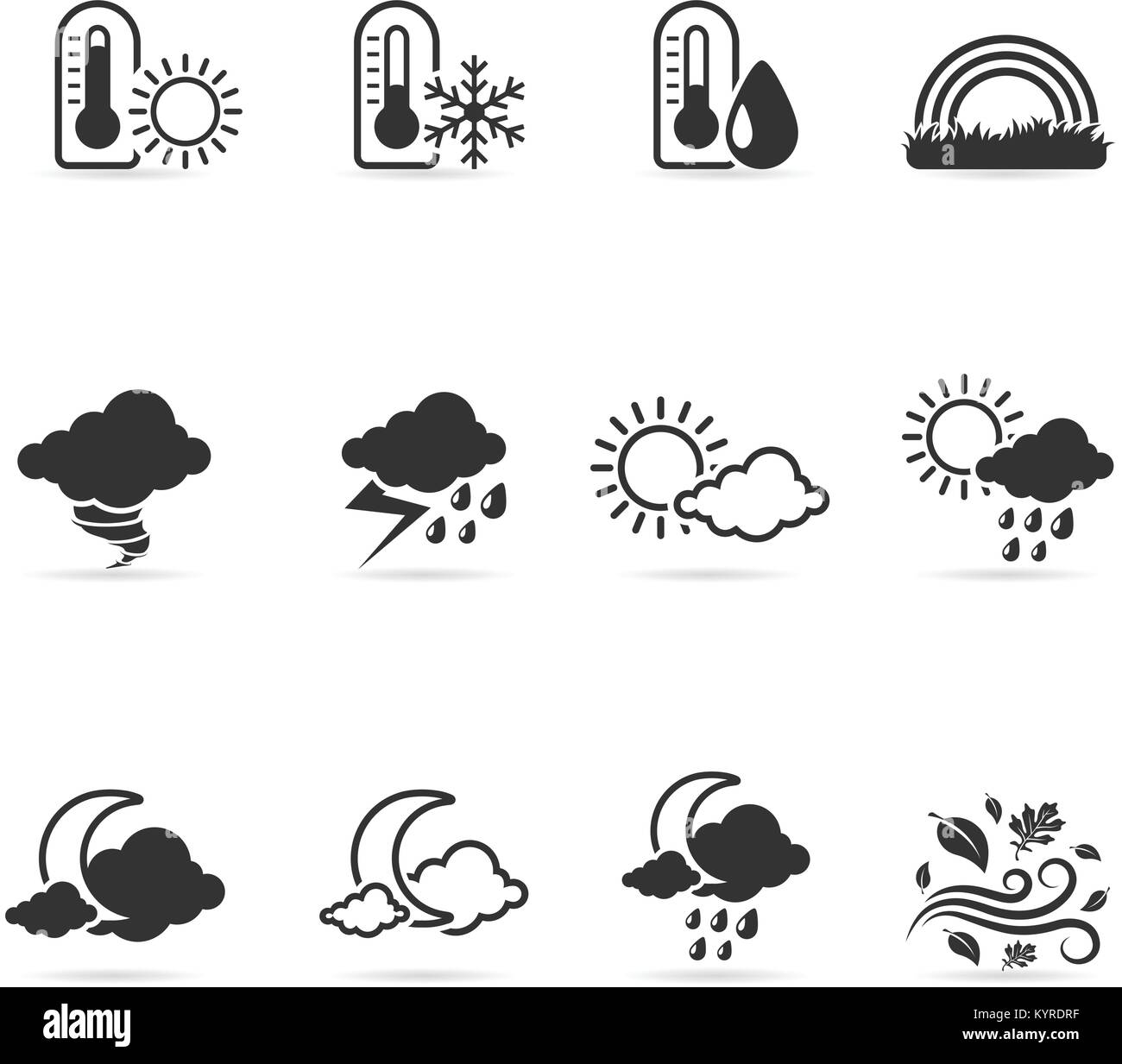 More weather icon set in single color. - Stock Image