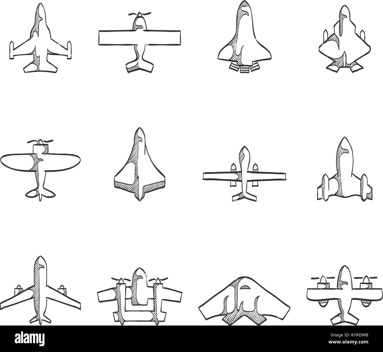 Airplane icons in sketch. - Stock Image