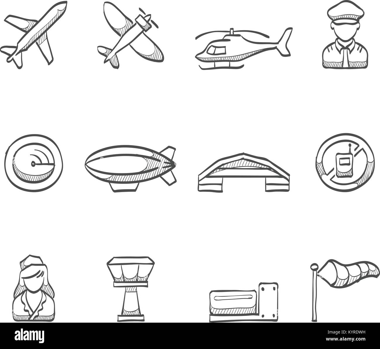 Aviation icons in sketch. - Stock Image