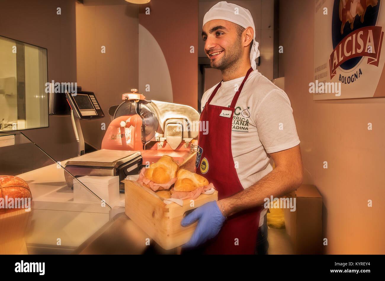 Italy Emilia Romagna Bologna FICO Eataly World Bologna - Consortium Mortadella Bologna IGP - sandwiches with mortadella - Stock Image