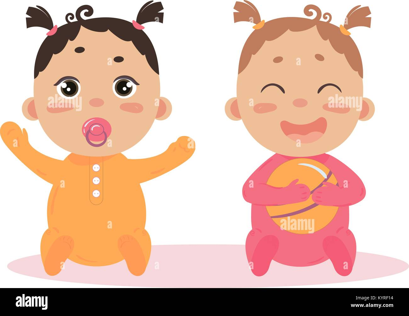 Newborn baby girl twins sitting together - Stock Vector