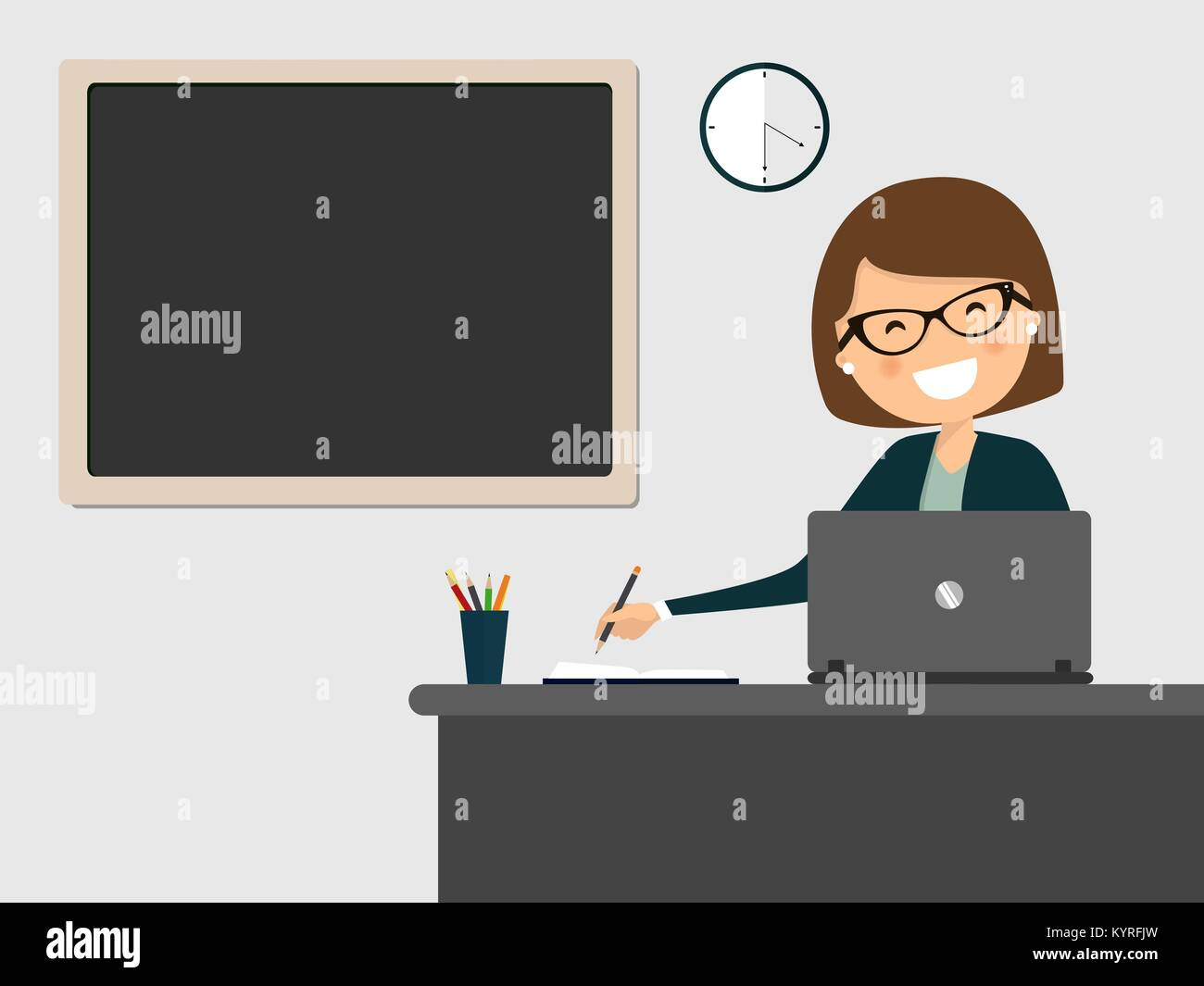 Secretary smiling at workplace with clean blackboard hanging on the wall. Vector illustration - Stock Vector