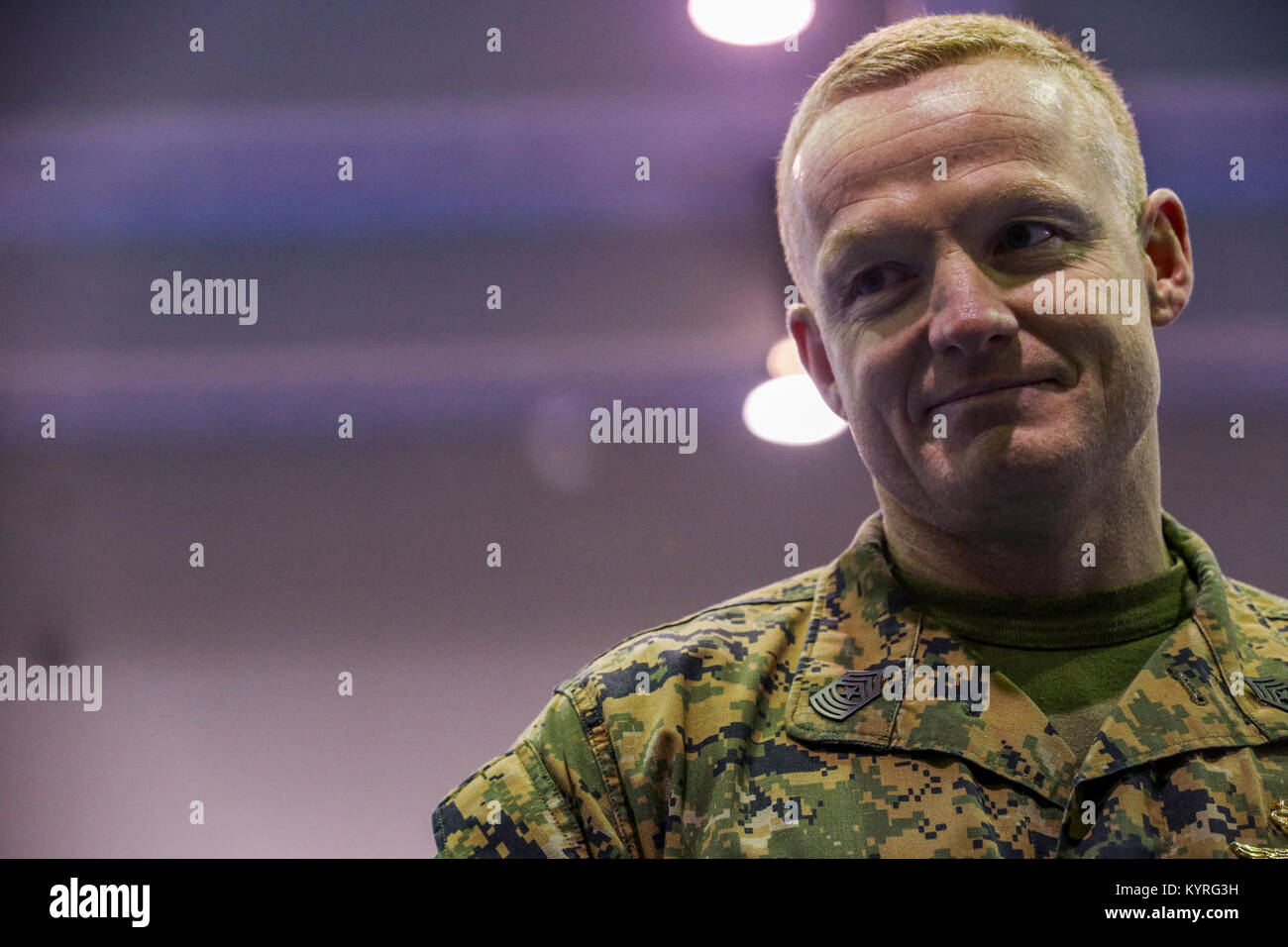 U.S. Marine Corps Sgt. Maj. Joshua J. Smith smiles during a Relief and Appointment ceremony on Marine Corps Air - Stock Image