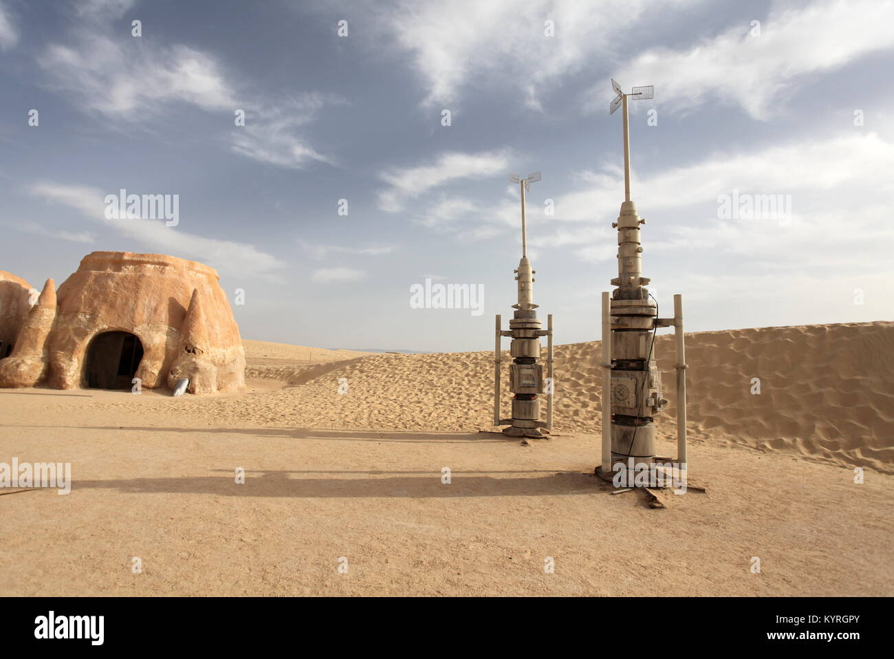 The scenery for the movie 'Star Wars' the Sahara Desert, Tunisia - Stock Image