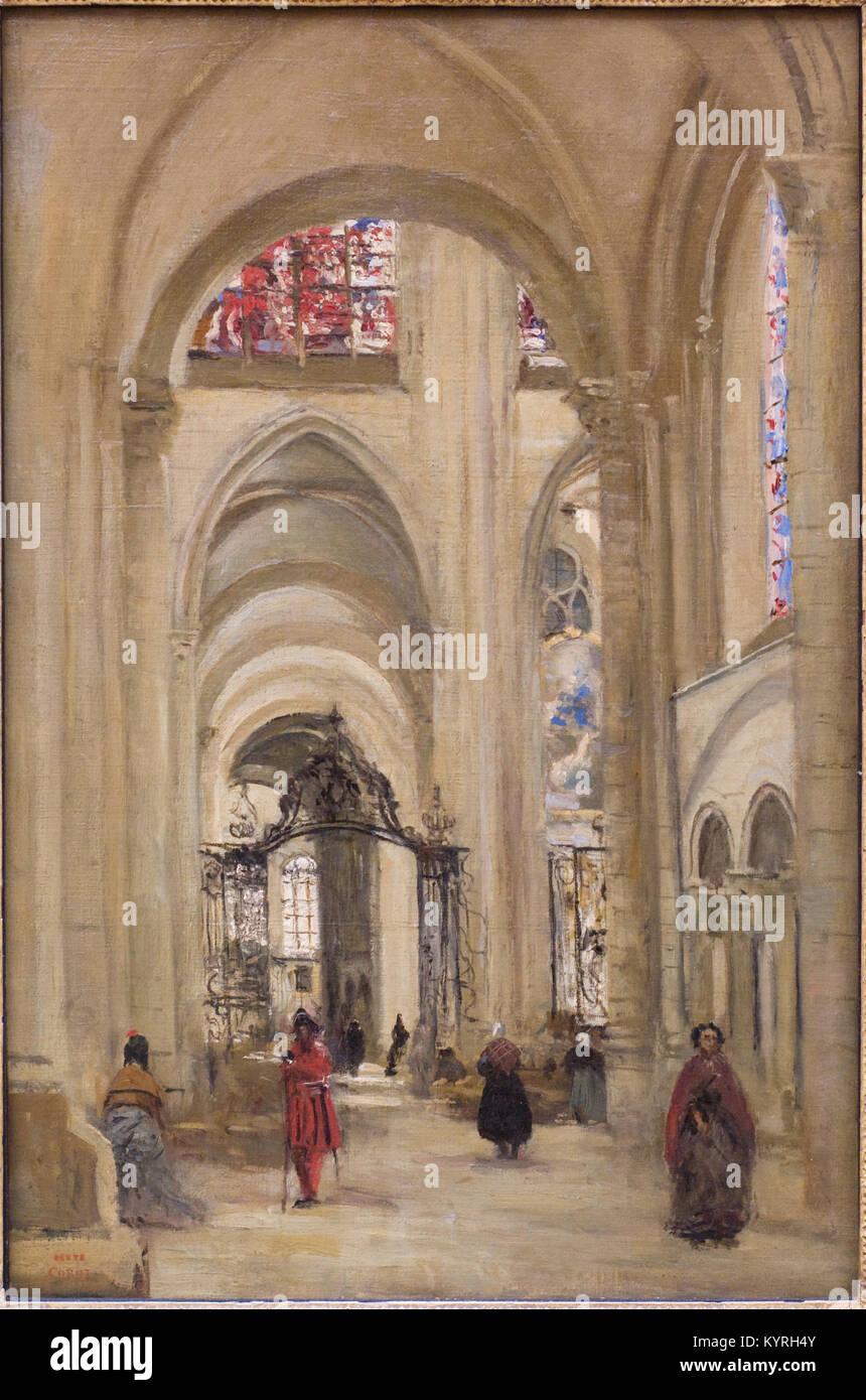 COROT Camille -  Vue de l'intérieur de la cathédrale de Sens - Inside view of the Sens cahedral 1874 - Stock Image