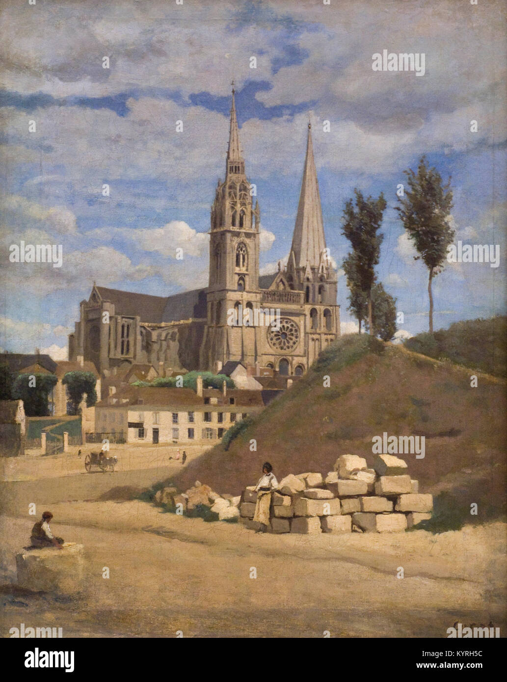 COROT Camille -  La cathédrale de Chartres - The Cathedral of Chartres 1830 XIX th Century French school - Stock Image