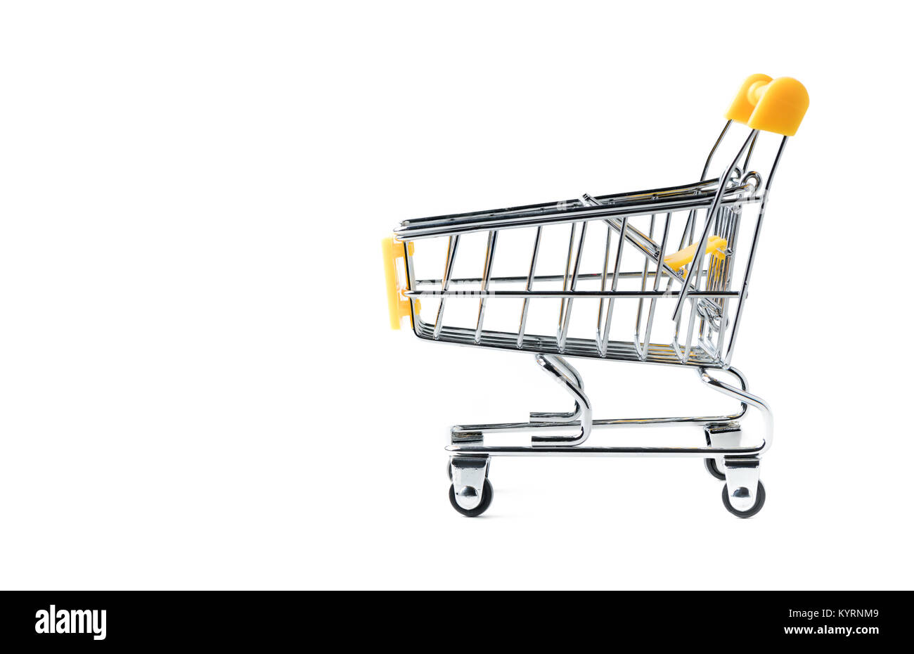 Yellow shopping Cart isolated on white background, shopping concept - Stock Image
