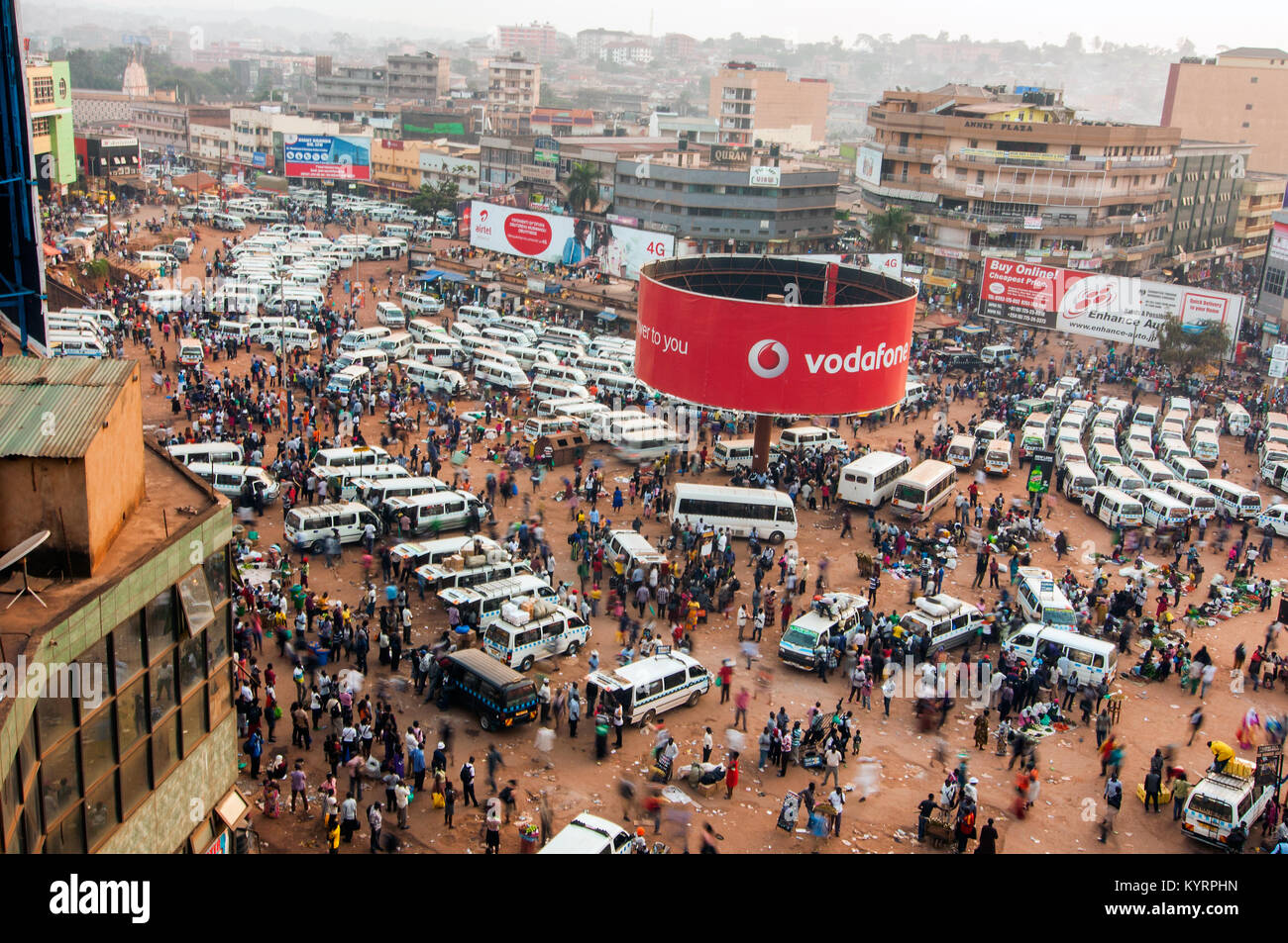 Aerial View Of Old Taxi Park Or Mini Bus Station Kampala Uganda