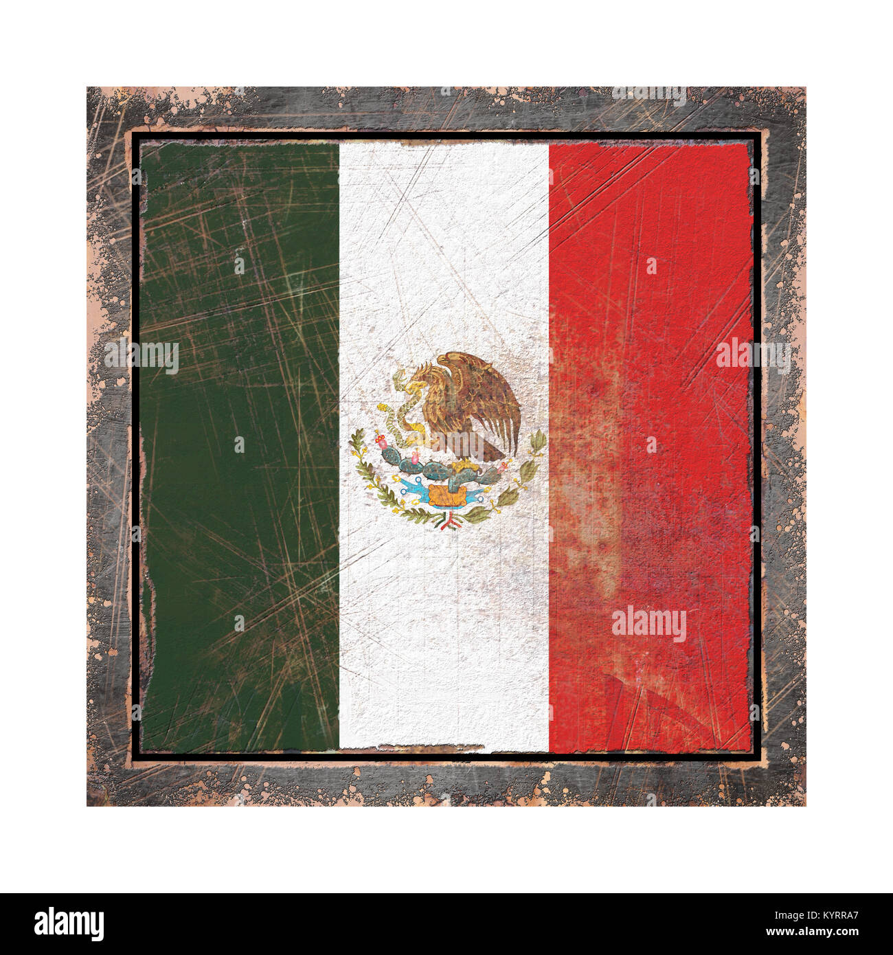 3d rendering of a Mexico  flag over a rusty metallic plate in an old frame. Isolated on white background. - Stock Image
