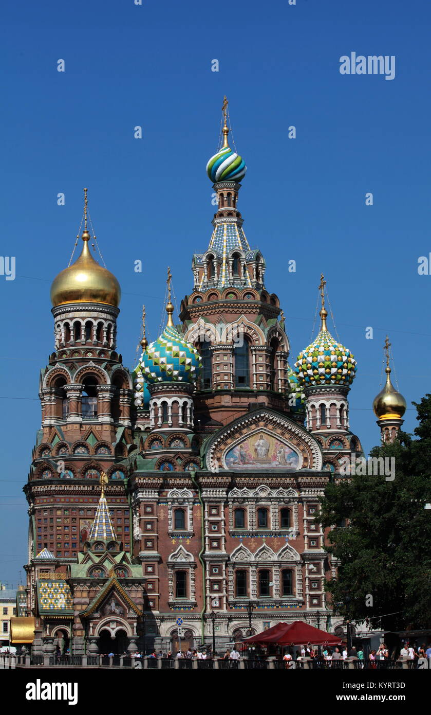Cathedral of the Resurrection on Spilled Blood in St. Petersburg - Stock Image