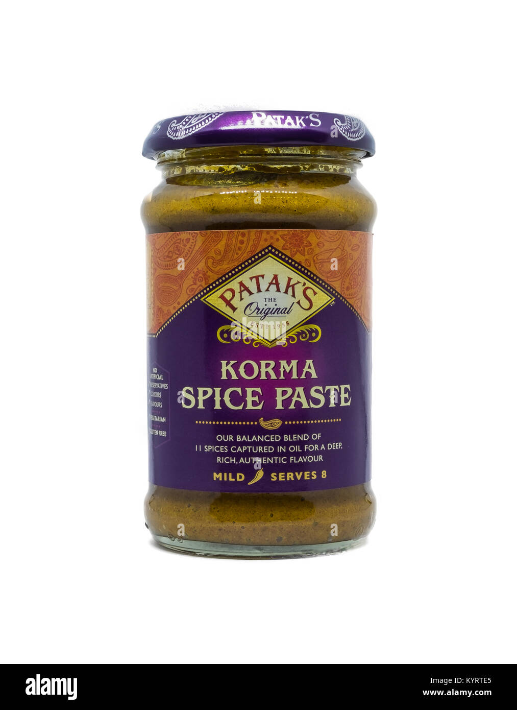 Largs, Scotland, UK - January 14, 2018: A popular branded jar of Patak's Korma Curry paste on white background - Stock Image