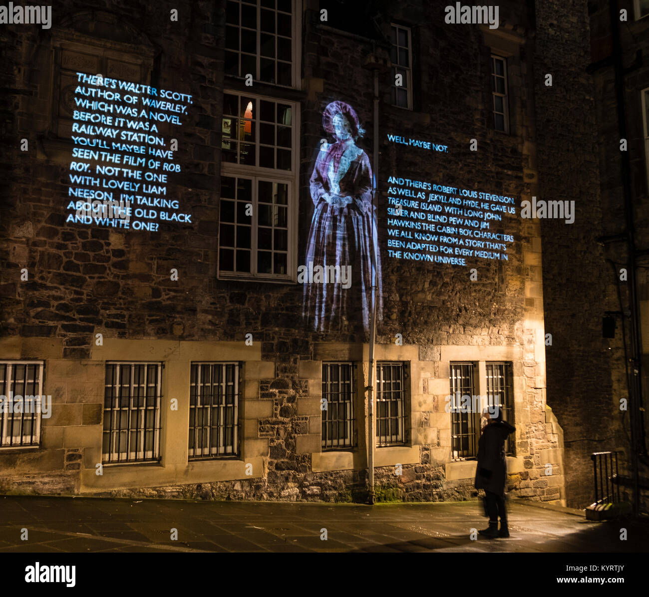 Author Val McDermid's short story  'New Year's Resurrection', Message from the Skies, projected - Stock Image