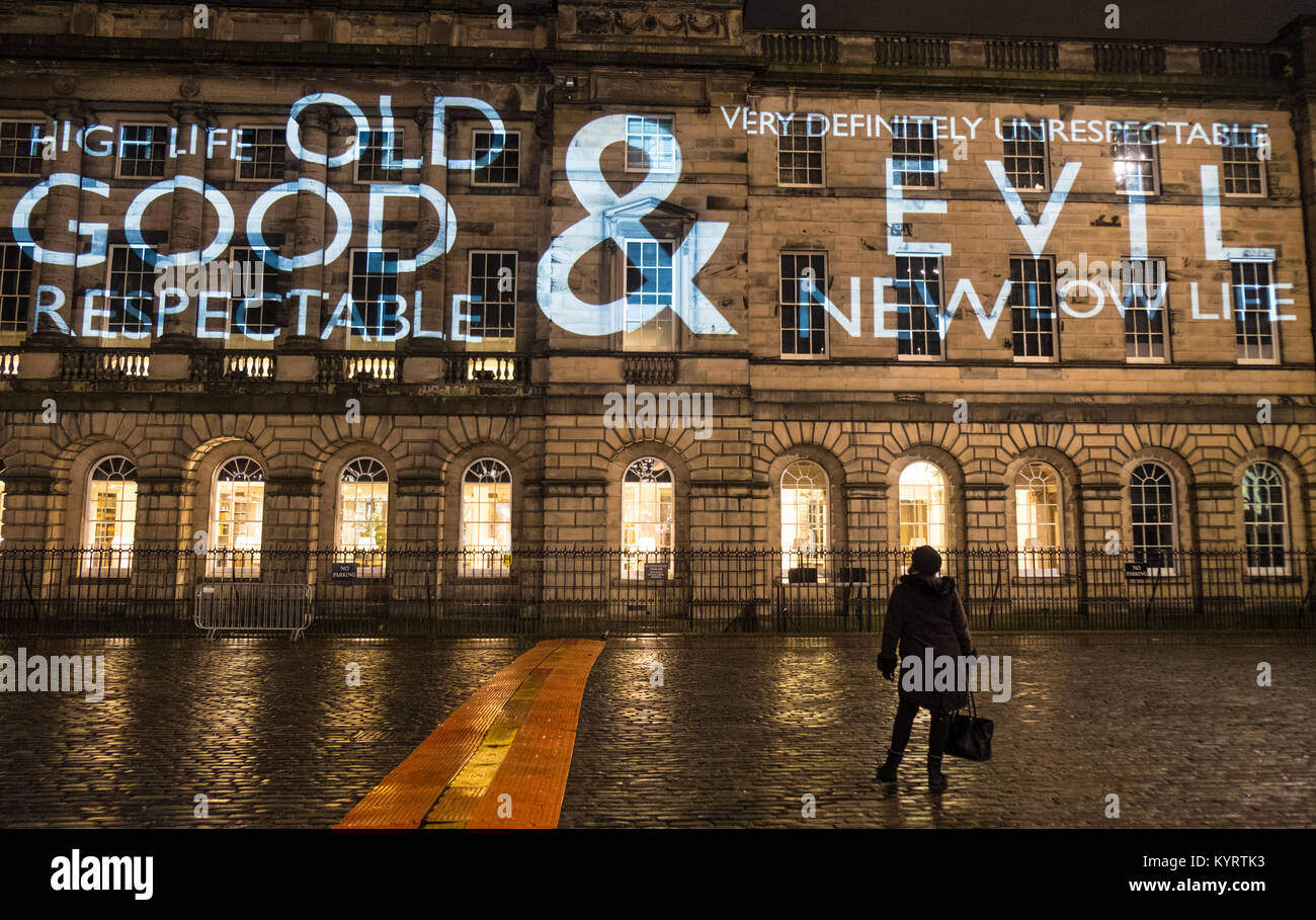 Author Val McDermid's short story  'New Year's Resurrection',Message from the Skies, projected at - Stock Image