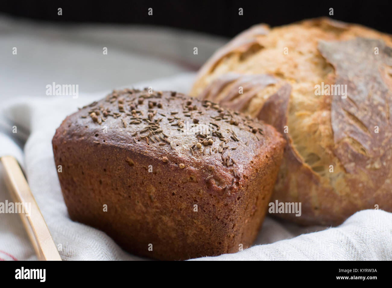 Homemade wholemeal bread handicraft - Stock Image