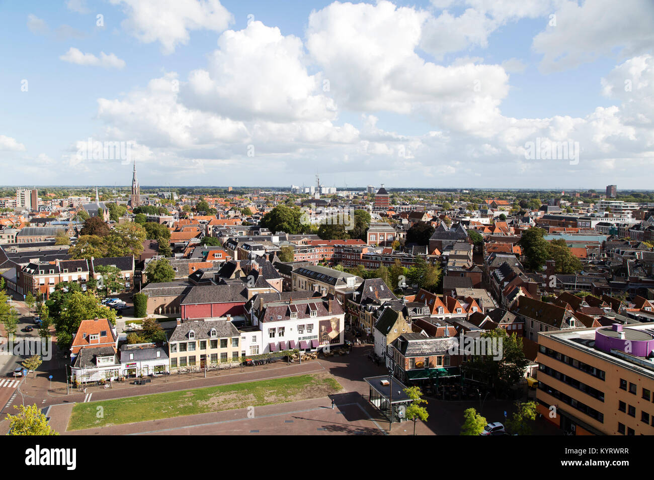 Rooftops in the city of Leeuwarden, the Netherlands. Leeuwarden is a European Capital of Culture in 2018. - Stock Image