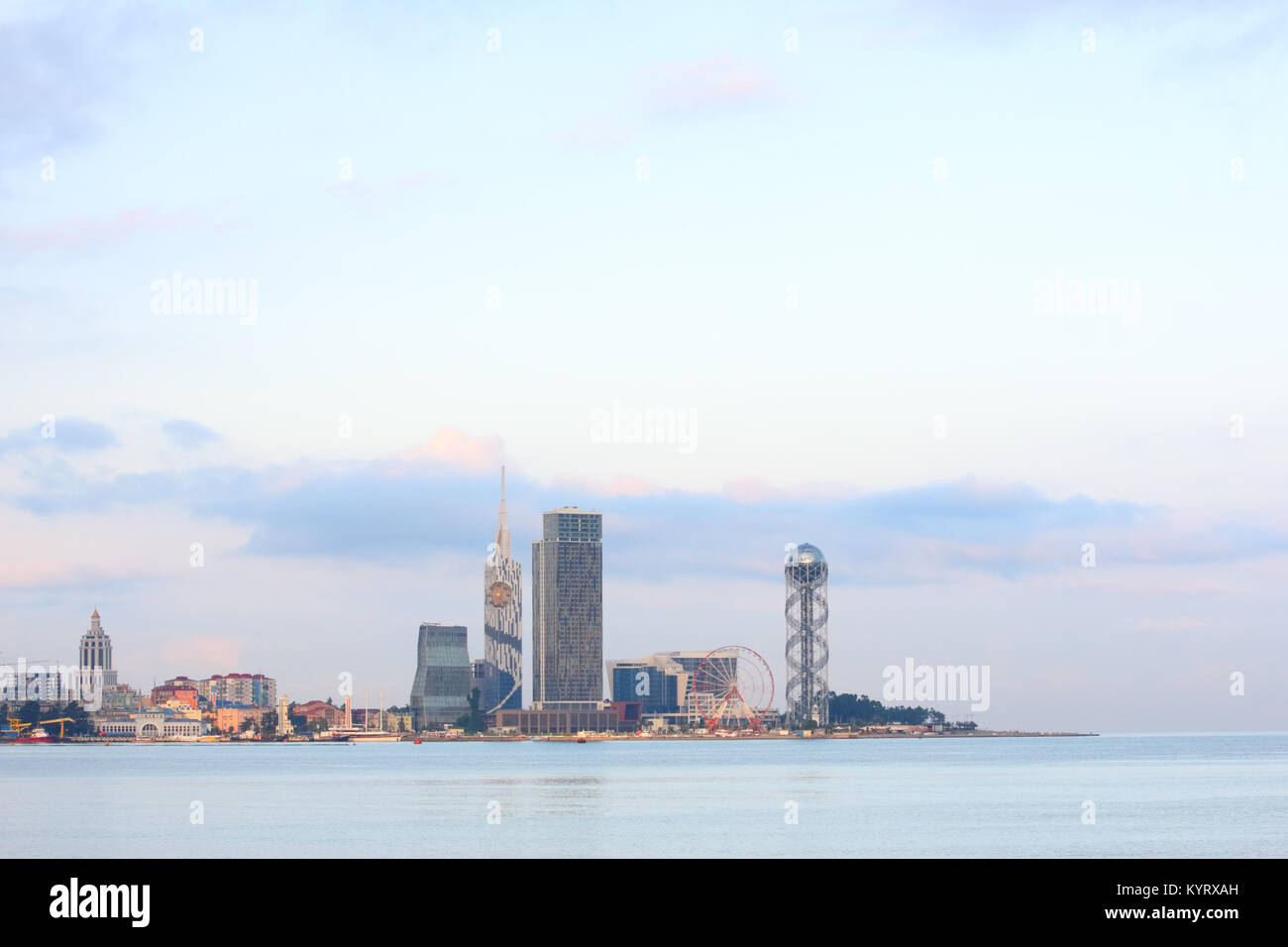 Batumi city skyline, Georgia, a famous resort town on Black Sea coast - Stock Image