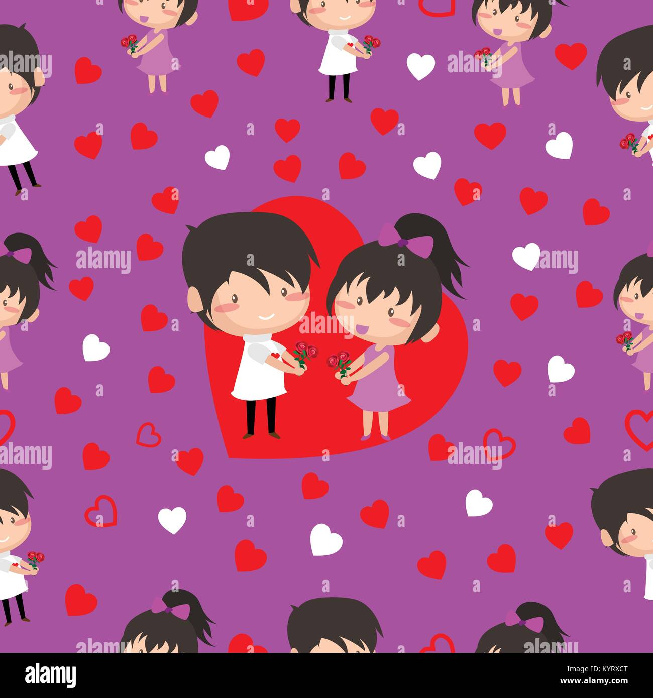 Boy and Girl love Hearts seamless pattern background, ideal for ...