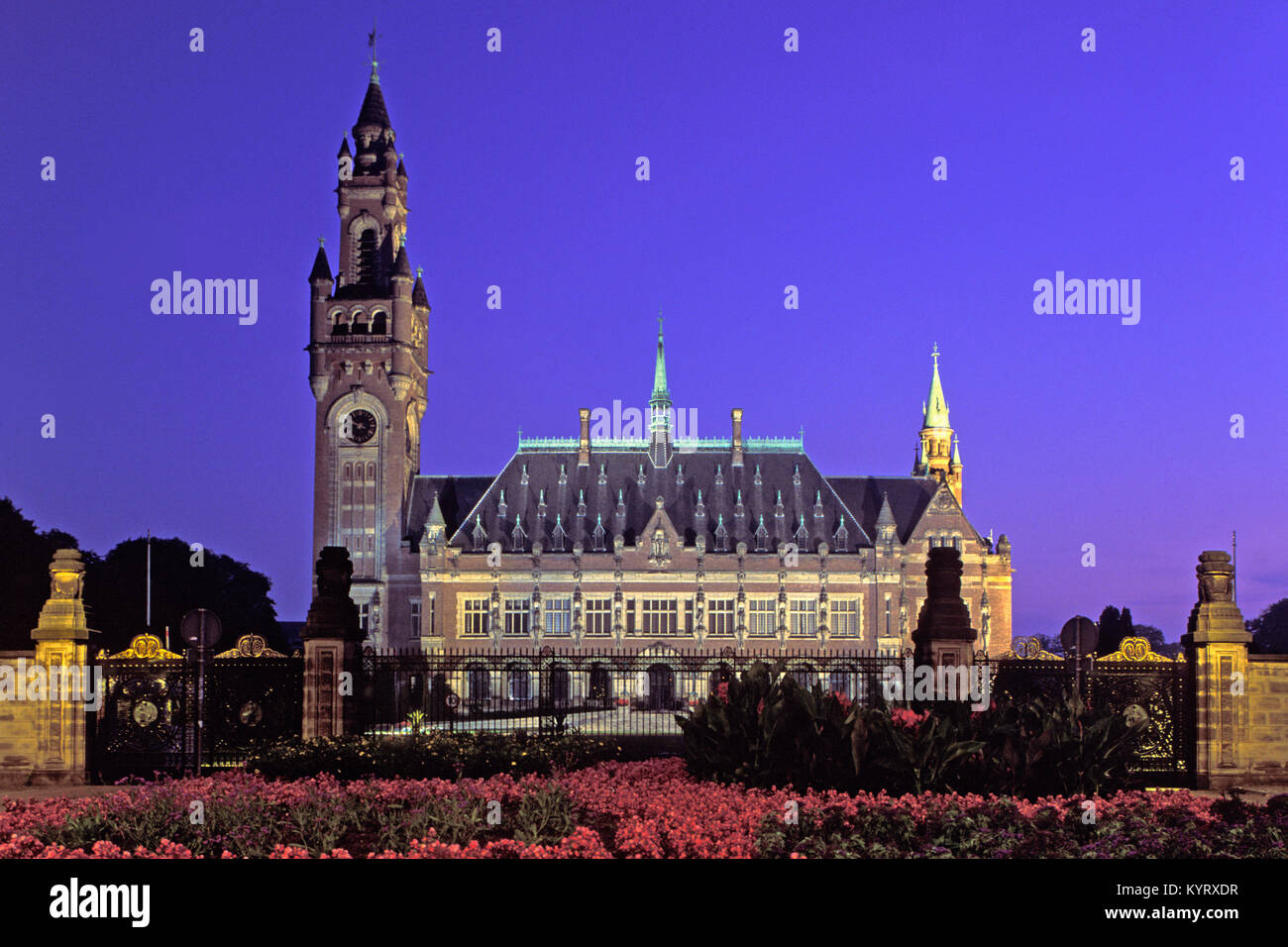 The Netherlands. Den Haag. Peace Palace (Vredespaleis). Dusk. - Stock Image