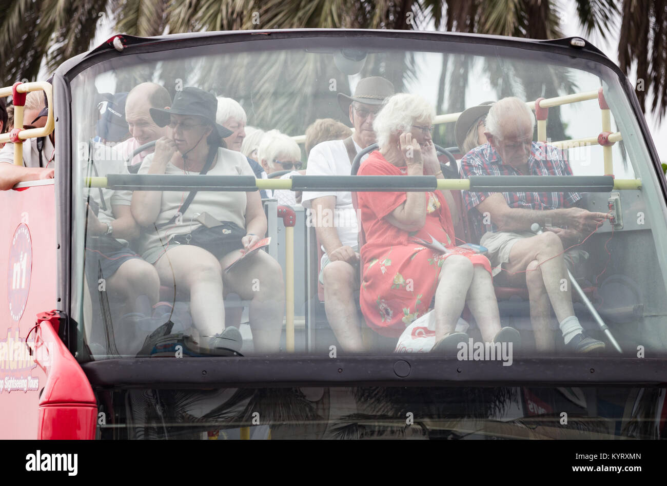British tourists on city sightseeing bus in Las palmas, the capital of Gran Canaria, Canary Islands, Spain - Stock Image