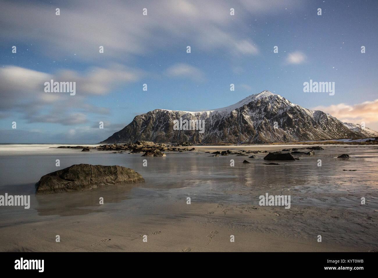 Skagsanden Beach, Lofoten Islands, Norway Stock Photo