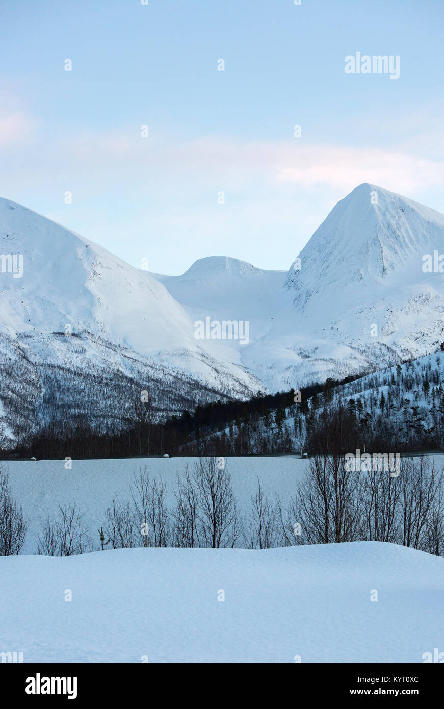 Snow Covered Mountains In Norway - Stock Image