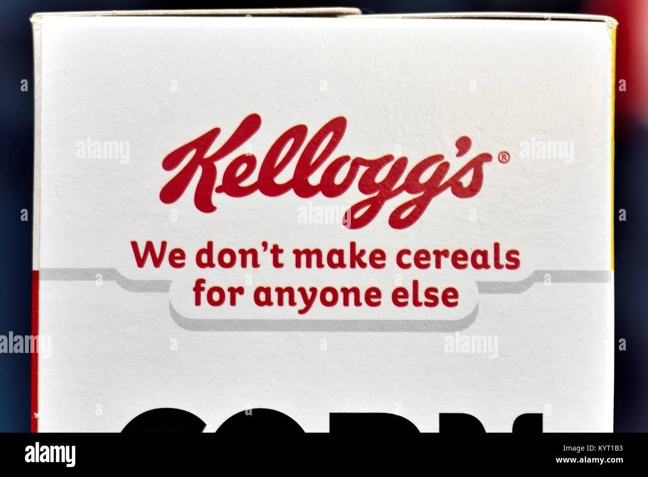 Kelloggs we don't make cereals for anyone else marketing slogan - Stock Image