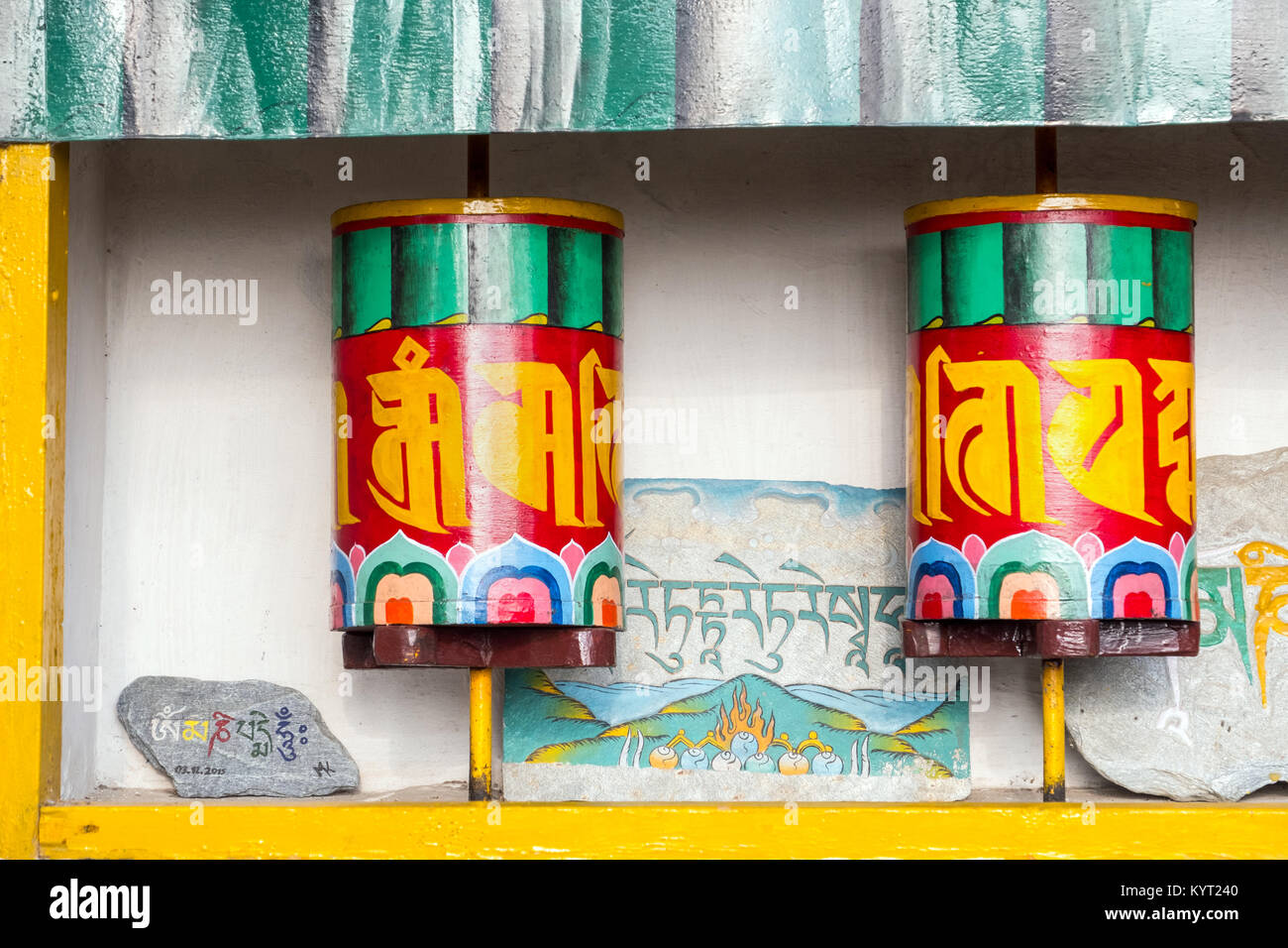 Buddhist prayer wheels in Dharamshala the home of the Tibetan Stock