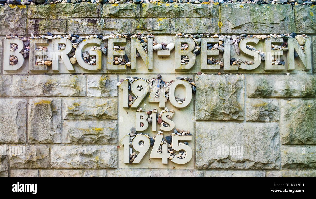 'Bergen-Belsen 1940-1945 stone Jewish Holocaust memorial Belsen-Bergen - Stock Image