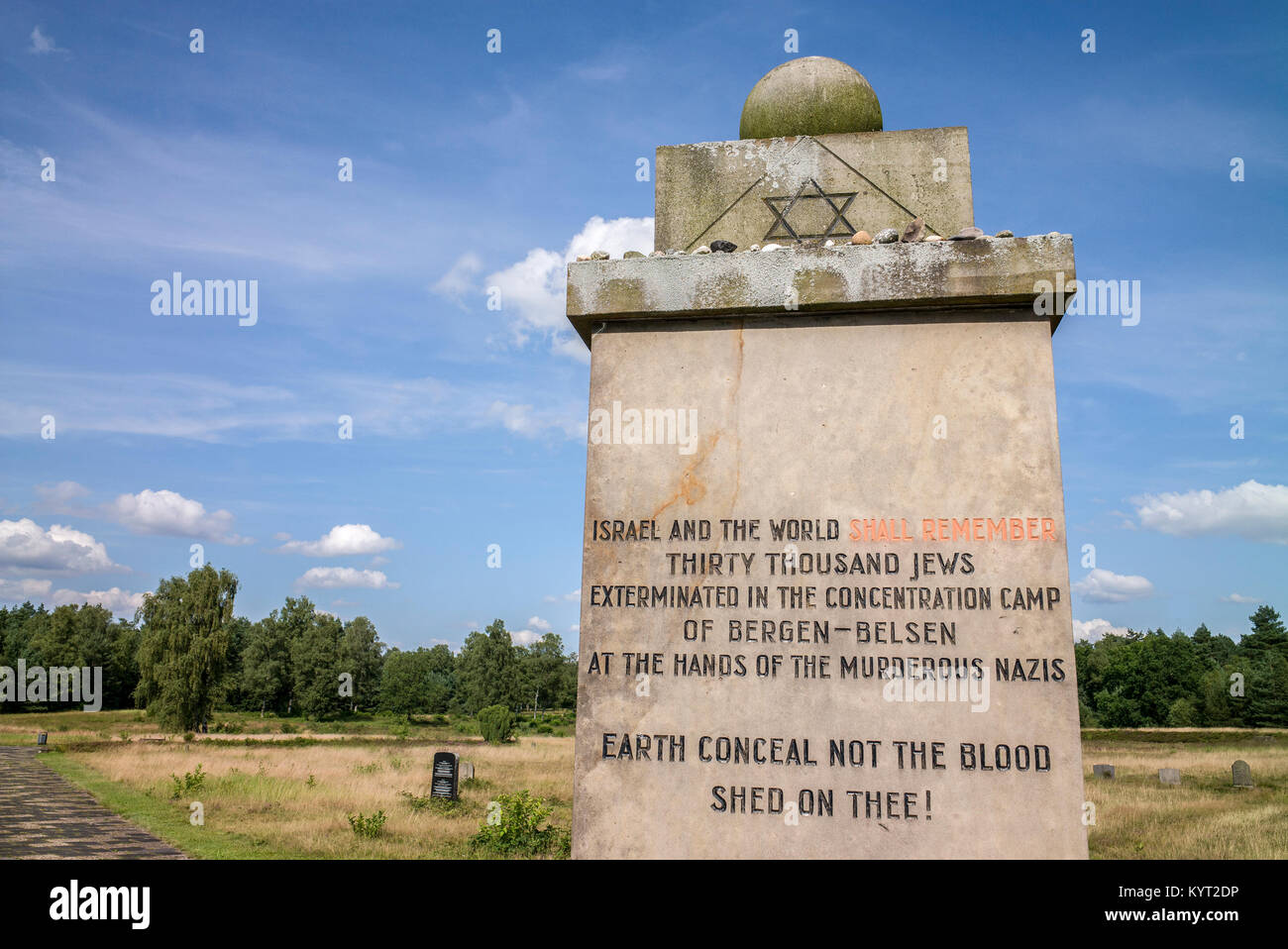 Israel and the world shall remeber thirty thousand jews exterminated in the concentration camp of Bergen-Belsen Stock Photo