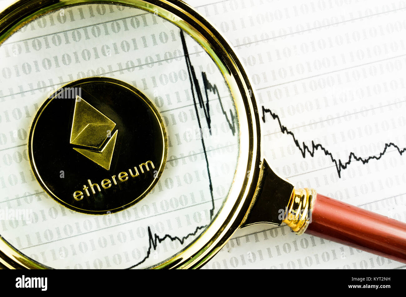 ethereum is a modern way of exchange and this crypto currency is a convenient means of payment in the financial - Stock Image