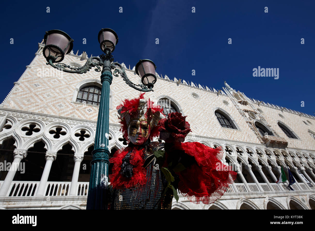 Traditional Venetian mask at Carnival 2017, Venice, Italy - Stock Image