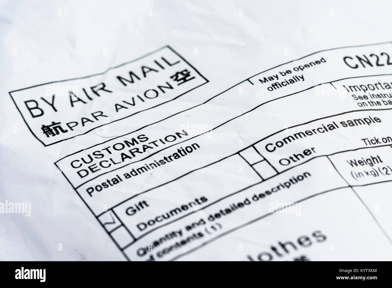 Air mail delivery lable from China Post - Stock Image