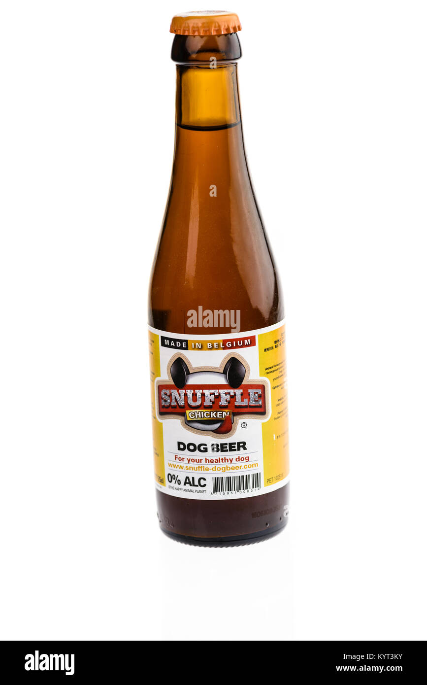 Snuffle dog beer, brewed in Belgium, containing no alcohol. - Stock Image