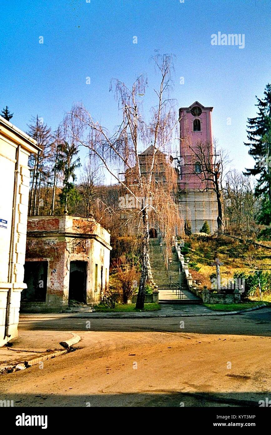 Pakrac (Western Slavonia, Croatia), destroyed catholic church and devastated houses close to the front line, January - Stock Image