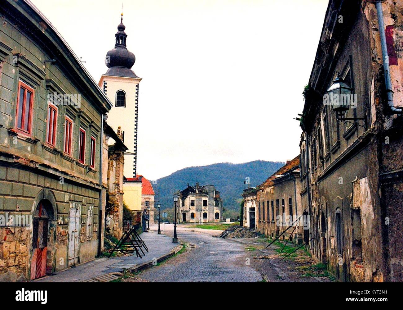 The Croatian town of Hrvatska Kostajnica is situated at the Una River at the border to Bosnia-Herzegovina. Shortly - Stock Image