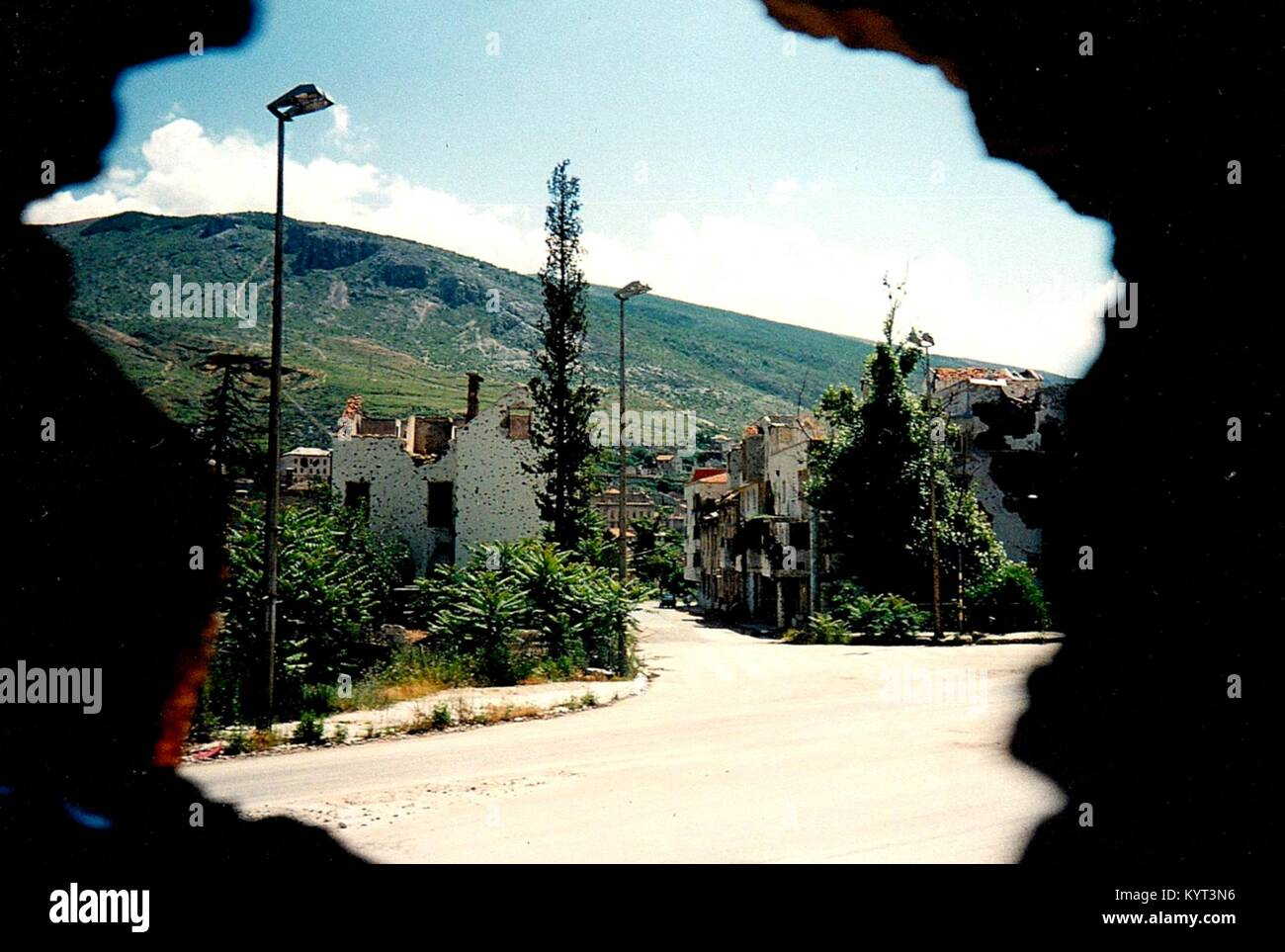 Mostar (Bosnia and Herzegovina) in June 1995. The town was and is divided between Muslims and Croats, the front - Stock Image