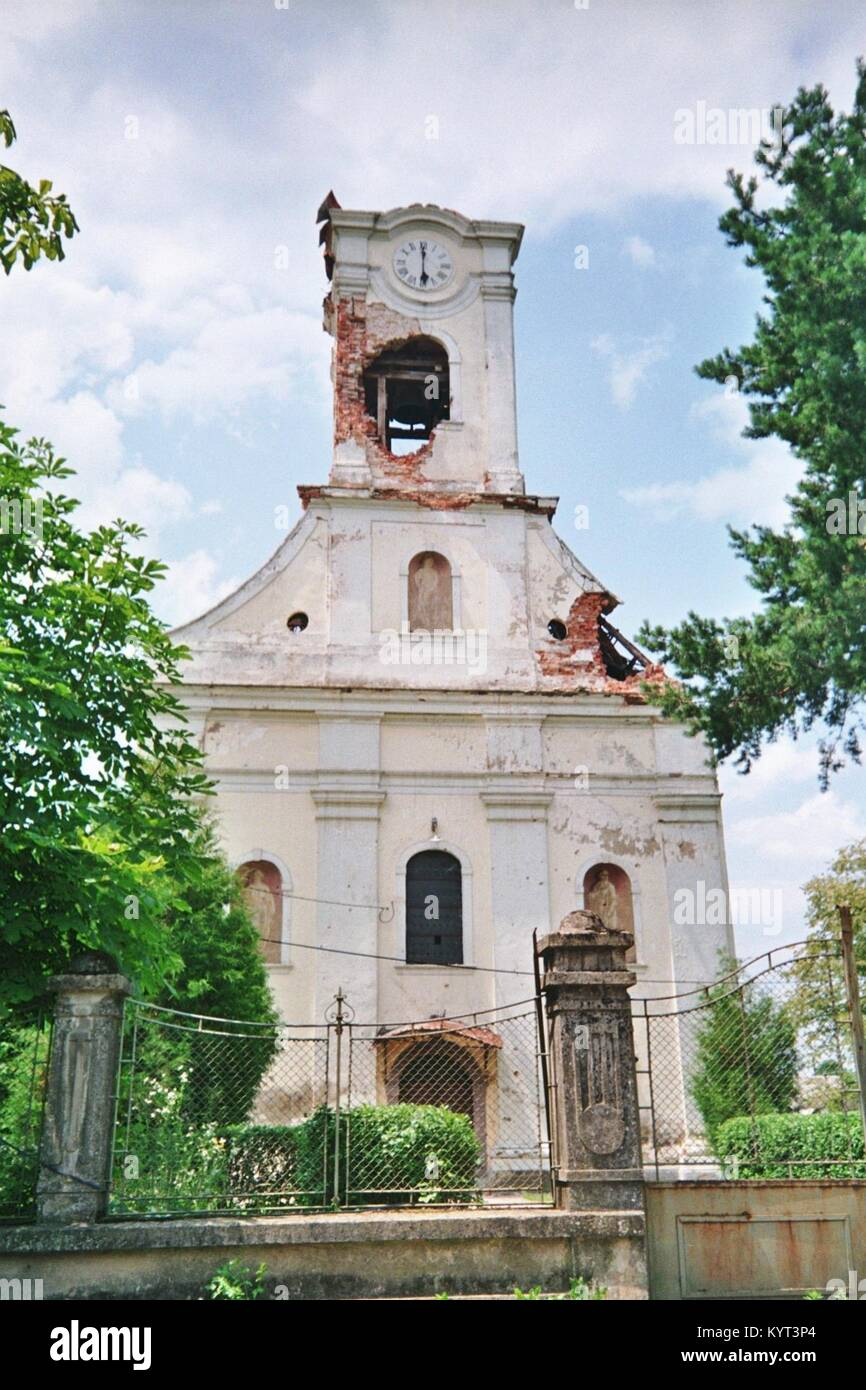 Sunja (Moslavina) in Croatia: During the war 1991 - 1995 the village was nearly surrounded by Serbian troops, and - Stock Image