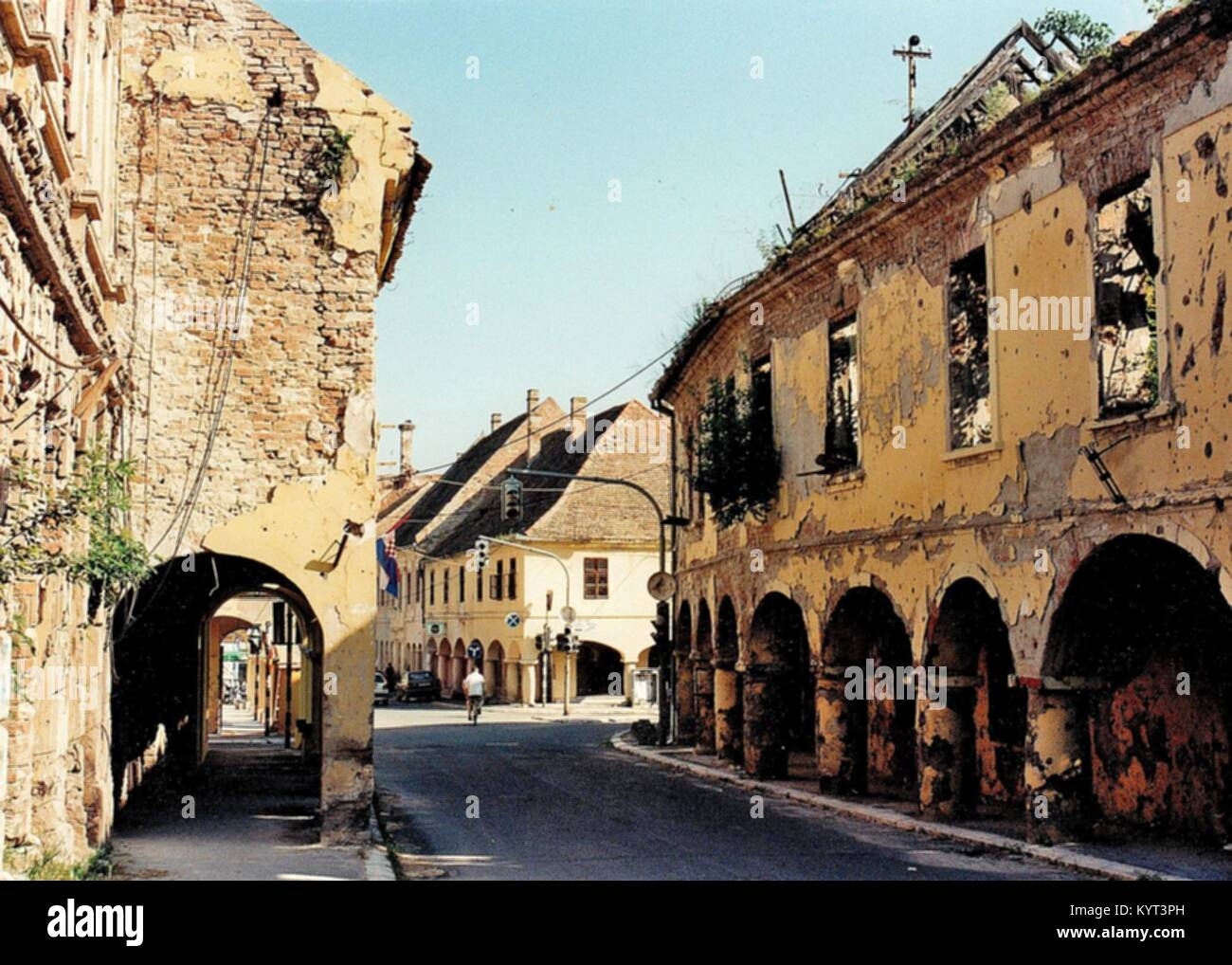 In the Croatian war 1991 the Eastern Slavonian baroque town of Vukovar, at the border to Serbia and by the Danube - Stock Image