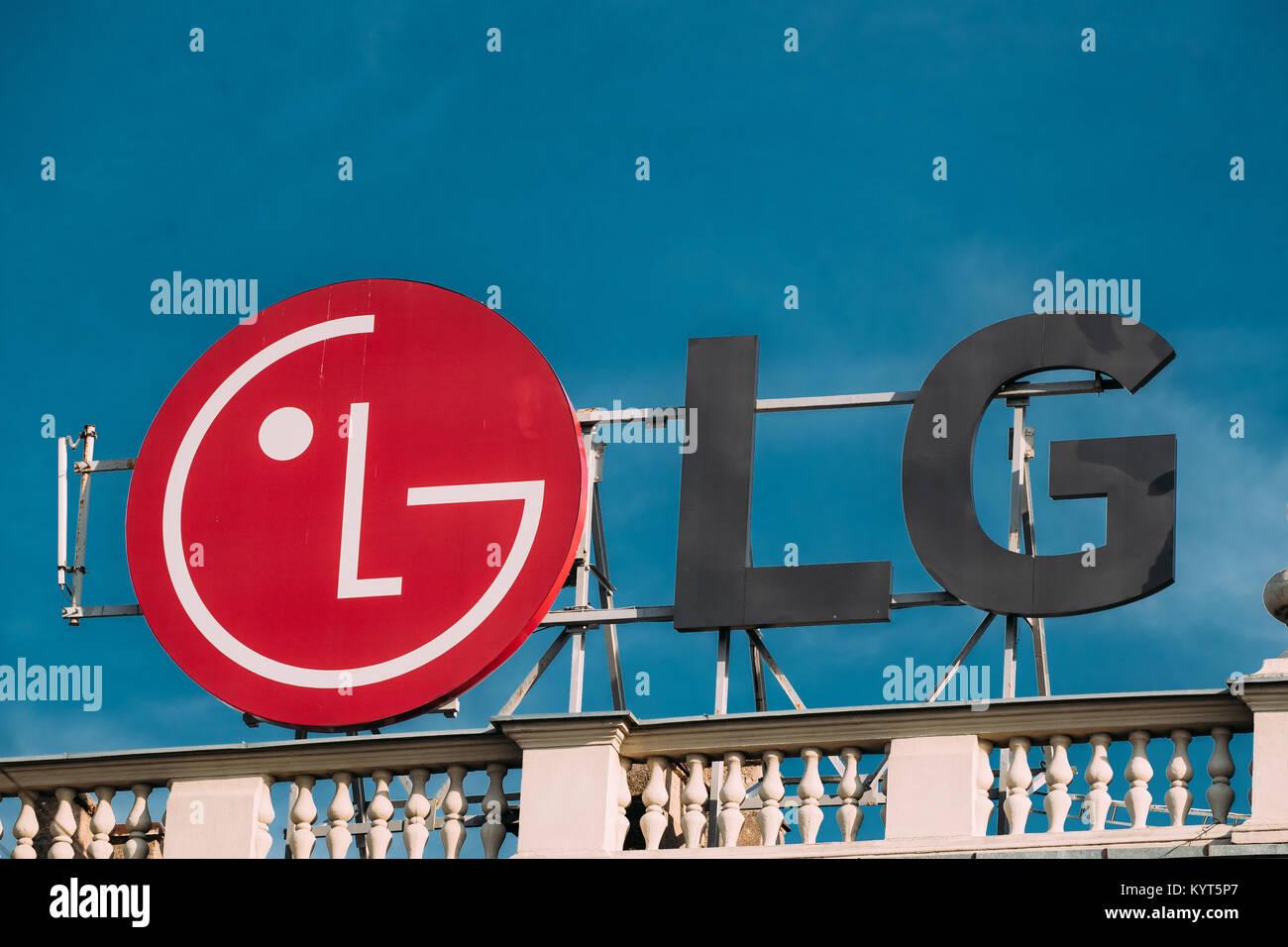 Minsk, Belarus  Logo of LG (Lucky Goldstar) is a South