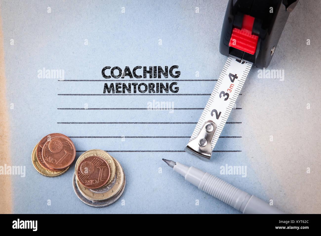 Coaching and Mentoring concept. notebook with header. business and success background - Stock Image