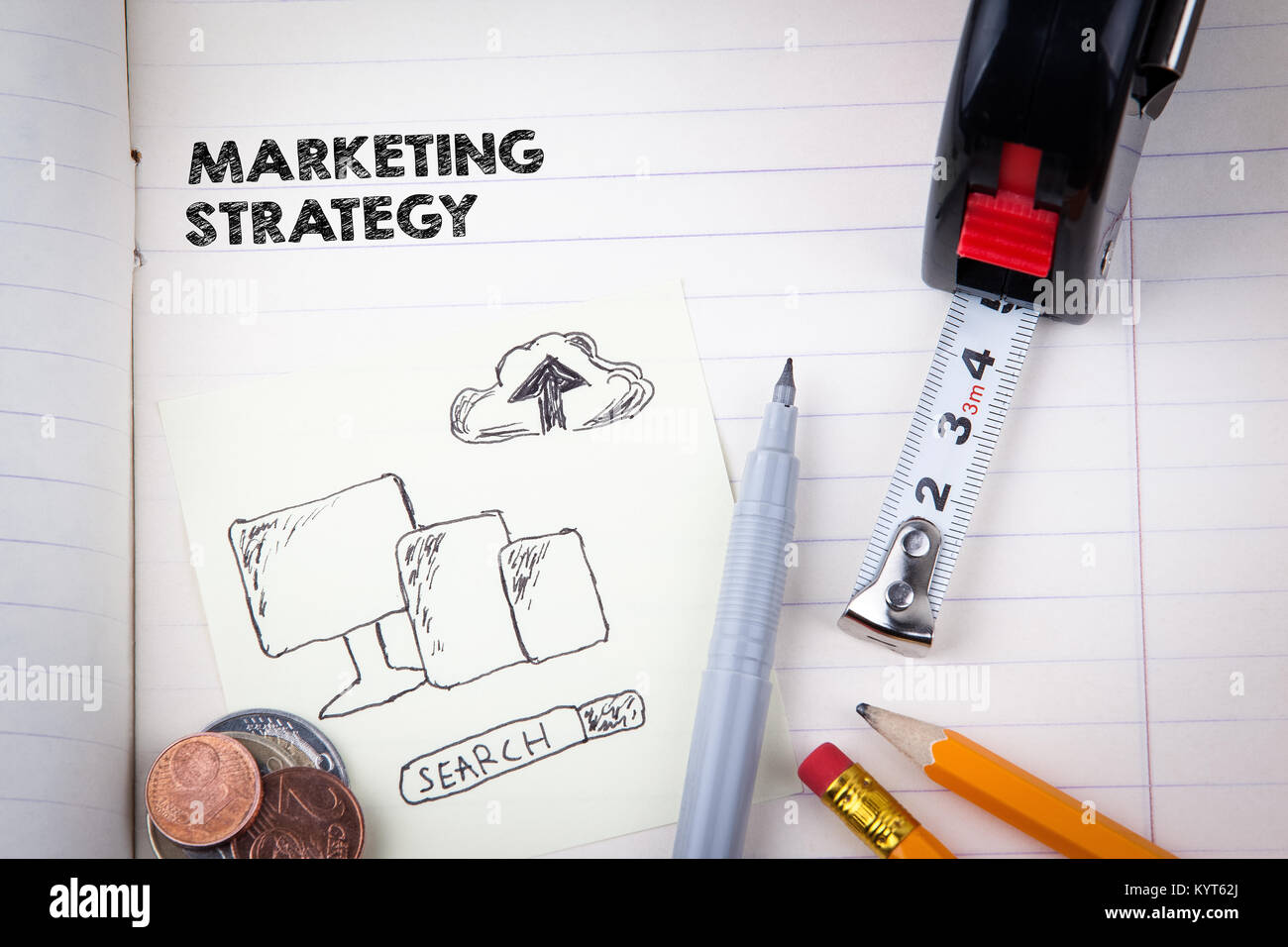 Marketing Strategy concept. social media, digital advertising and internet business - Stock Image