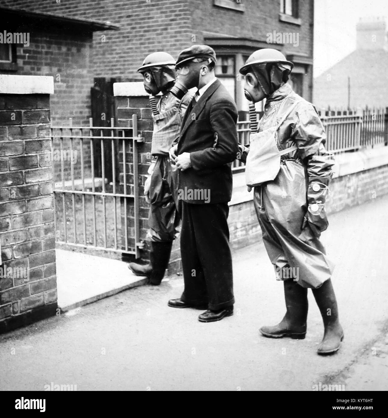 Taking an injured person to a cleansing station after a gas attack, ARP training exercise during WW2 - Stock Image