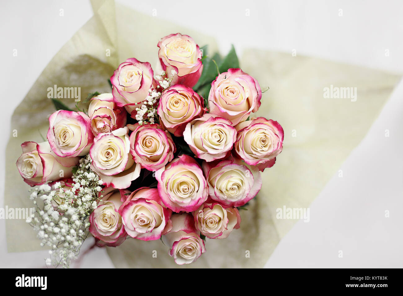 Rose flowers valentines red marriage anniversary birthday stock beautiful bouquet of red and white roses with babys breath shot from above selective focus izmirmasajfo