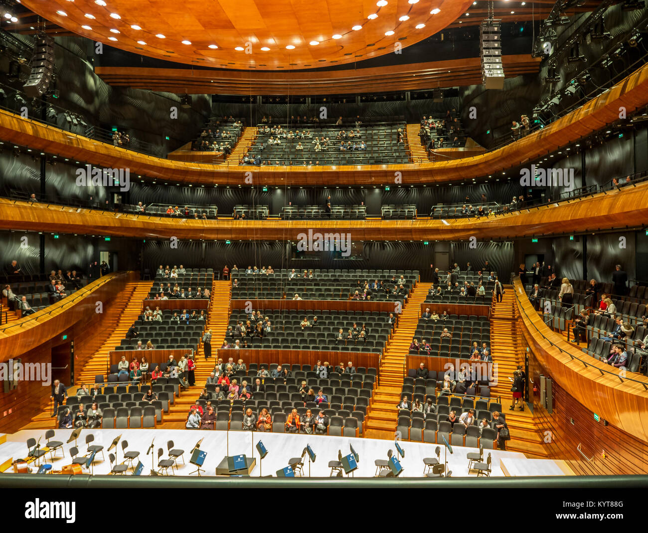 KATOWICE, POLAND – FEBRUARY 2, 2017: Interior and auditorium of modern concert hall of the National Symphonic Orchestra Stock Photo
