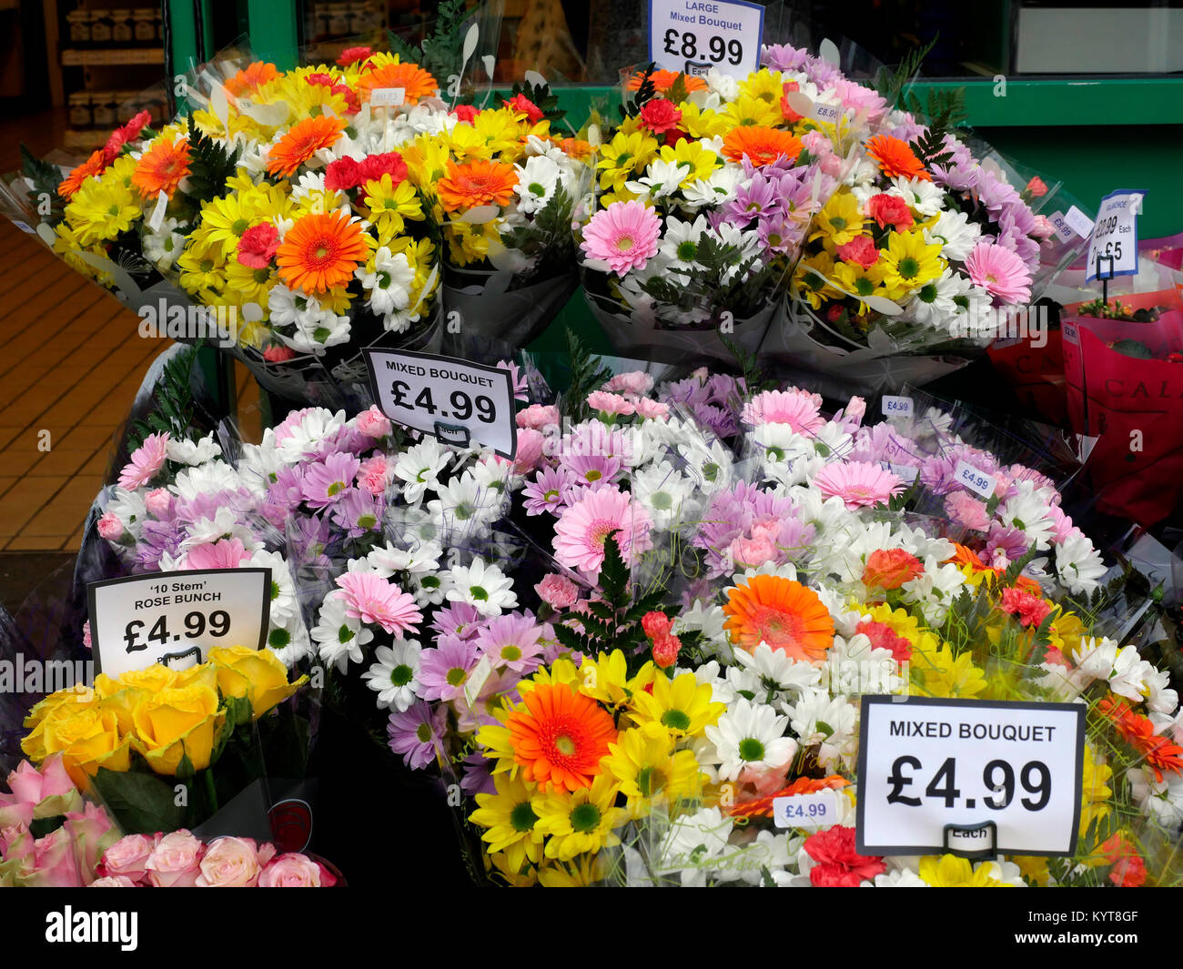 Fresh flowers for sale in High Street, Cosham, Hampshire, England, UK Stock Photo