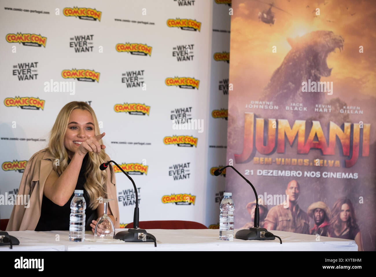 Madison Iseman attends a press conference for 'Jumanji
