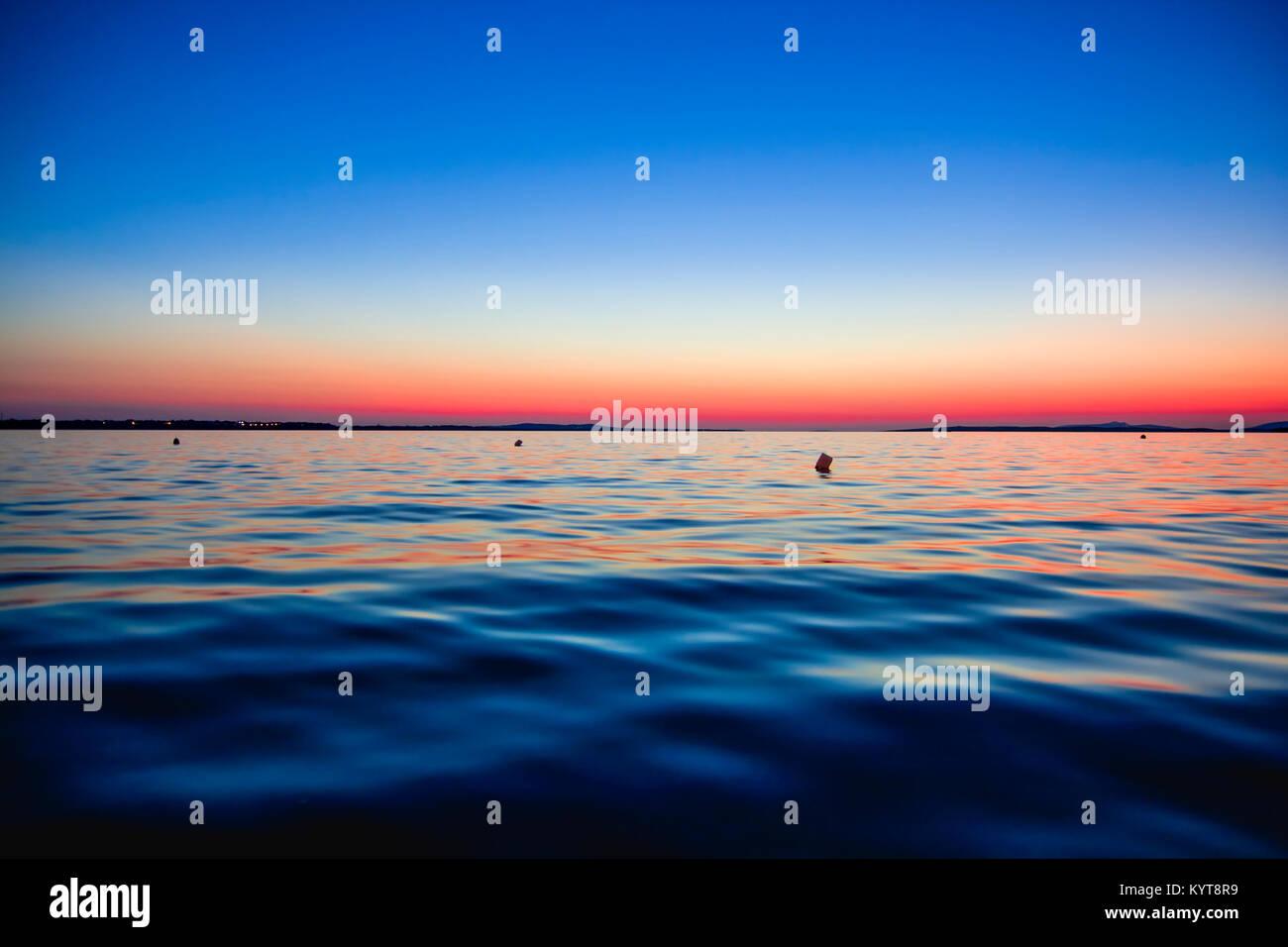 Blue hour at adriatic sea in Croatia Stock Photo