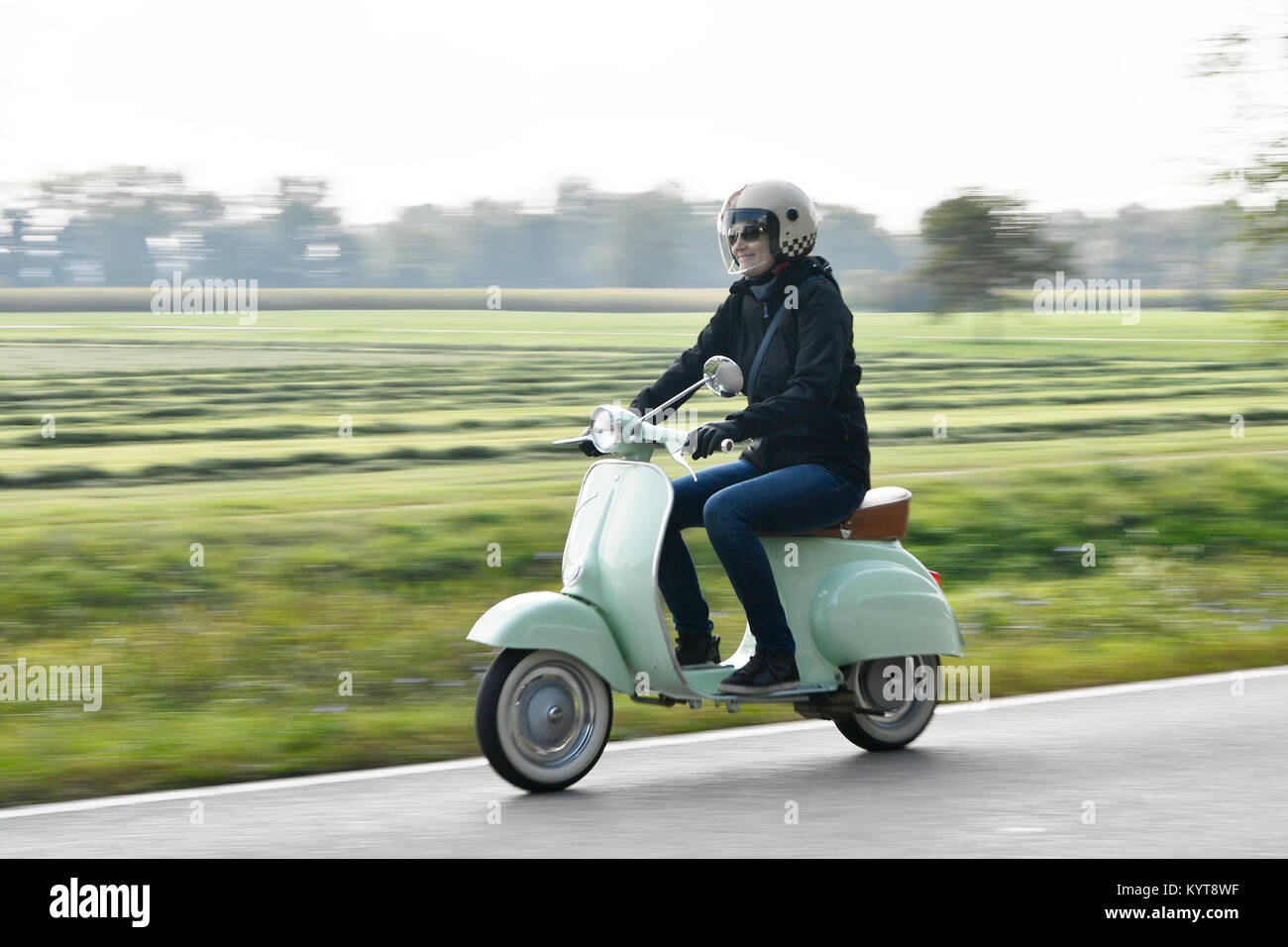 Vespa Scooter Vintage Tour Trip Drive Street Nature Historic Stock Photo Alamy